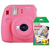 Fujifilm instax Mini 9 Instant Camera (Flamingo Pink) with Film Twin Pack Bundle (2 Items)