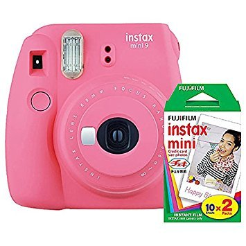 Fujifilm instax Mini 9 Instant Camera (Flamingo Pink) and instax Film Twin Pack (20 Exposures) Bundle