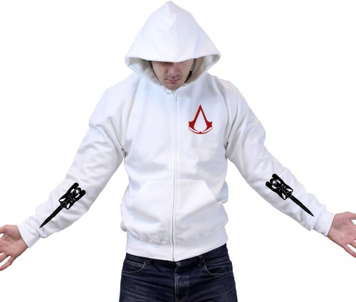 Assassins Creed Blades Zipped Hoody - White, Size: M