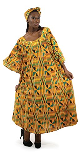 African Inspired Dresses (African Women's Kente Umbrella Dress With Headwrap, Plus Size (Orange/Blue))