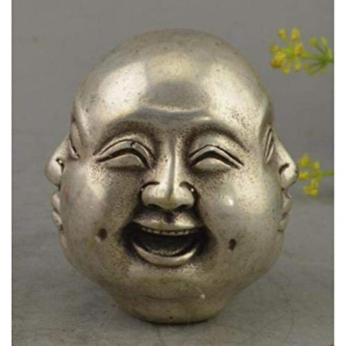(YOTATO China Tibet Silver 4 Emotions Four Faces Buddha Head Statues & Sculptures)