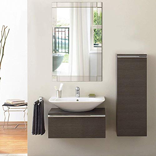 Tangkula Wall Mirror Vanity Mirror Home Bathroom Office Bedroom Frameless Hanged Rectangle Make Up Mirror (Wall Mounted Rectangular) ()
