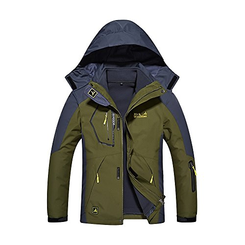 Quicksilk Men's Mountain Waterproof Fleece Ski Jacket Windproof Rain Jacket (XL, 3-in-1 Army Green)