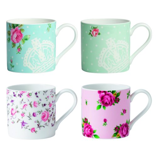 Royal Albert New Country Roses Modern Mugs, White, Set of 4 (Bone Royal China Mug Albert)