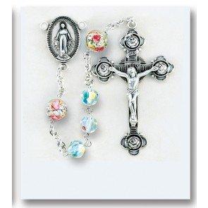 BERTOF BT-201 Swarovski Crystal and Venitian Glass Rosary Sterling Silver Crucifix Miraculous Centerpiece & Copyrighted Paul Herbert Blessing SILROSA Series