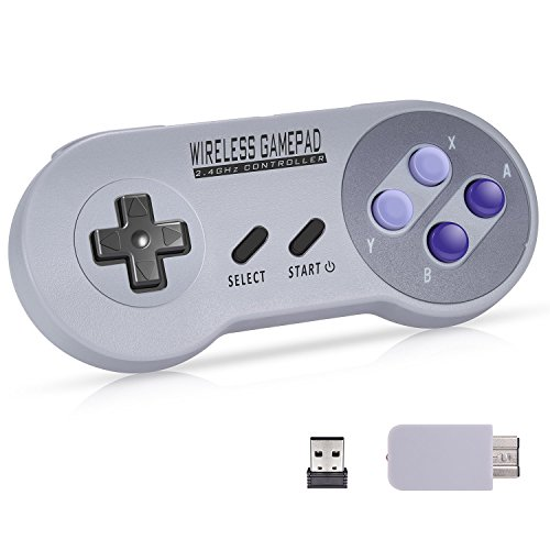 Wireless Controller for SNES Classic / NES Classic / PC, Urvoix 2.4G Rechargeable Gamapad Joystick with Receiver for Nintendo Super NES Classic / NES Classic , with USB Adapter for Emulators on PC (Classic Joystick For Pc)
