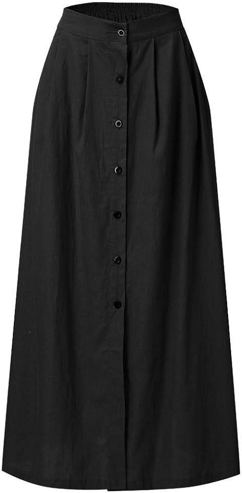 Faldas de otoño Moda para Mujer Verano Casual Botón sólido Apertura Hueco Acampanado Falda Diaria Dividida Larga