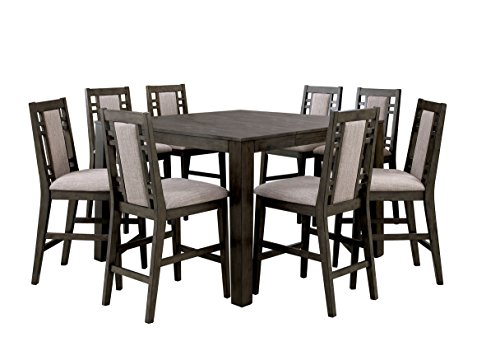 HOMES: Inside + Out Verona Modern Style 9 Piece Counter Height Dining Set, Weathered Gray