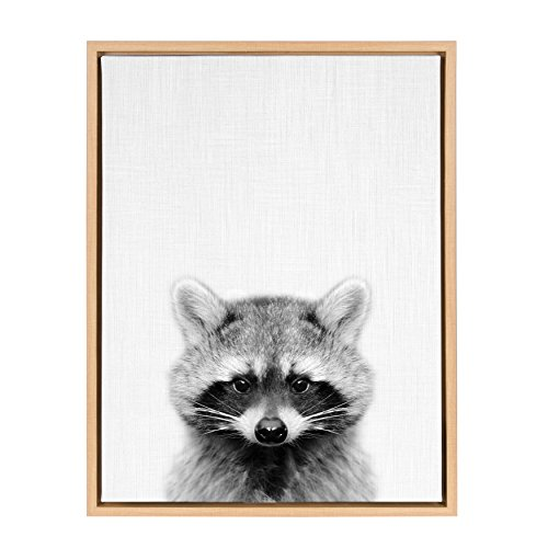 Kate and Laurel Sylvie Raccoon Black and White Portrait Framed Canvas Wall Art by Simon Te Tai, 18x24 Natural