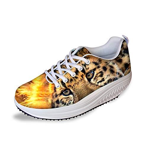 Animal Wedge Print (Bigcardesigns Ladies Toning Shoes Leopard Print Mesh Platform Sneakers Brown(Size US 10=EUR 41))