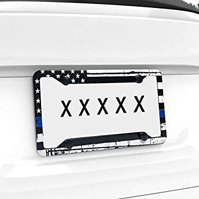 EXMENI Thin Blue Line American Flag License Plate Frame Heavy Duty Aluminum Black on White Composite Tie Flag-Themed License Plate Frame Novelty Auto Car Tag Vanity Gift Support Law Enforcement: Automotive