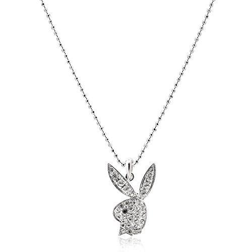 High Gloss Finish Jewelry (High Gloss Finish Silver Plated Playboy Bunny Charm and Chain)