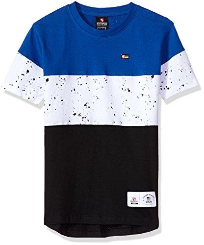 Southpole Big Boys' Colorblock Short Sleeve Fashion Tee (Age 8-20), Royal/Splatter, Large