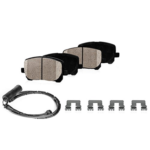 REAR Performance Grade Quiet Low Dust [8] Ceramic Brake Pads + Dual Layer Rubber Shims + Pad Sensors + Hardware
