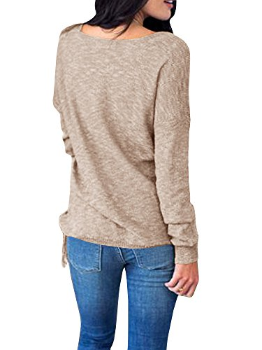 Womens Sweaters Long Wrap V Neck Off The Shoulder Fringe Knit Pullover Sweater Tunic Tops by Farktop (Image #3)