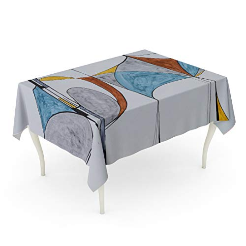 Tarolo Rectangle Tablecloth 60 x 90 Inch Blue Elegant Modernist Abstract Painting Divisions Red Modernism Batch Brushmarks Brushwork Table Cloth