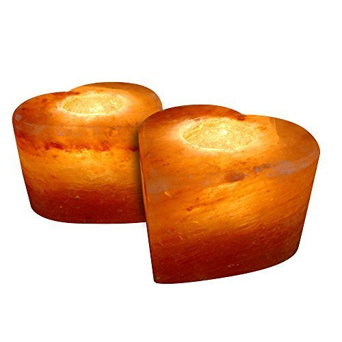 Crystal Allies Gallery: CA SCH-HEART-2pc Pack of 2 Natural Himalayan Salt Tea Light Candle Holder w/ Authentic Crystal Allies Info Card