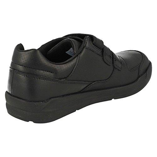 Clarks la llamarada lite varones infantil escuela zapato en negro Black Leather