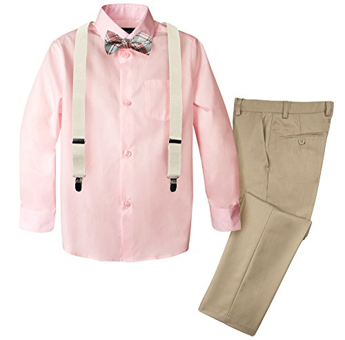 Spring Notion Boys' 4-Piece Patterned Dress up Pants Set 10 -