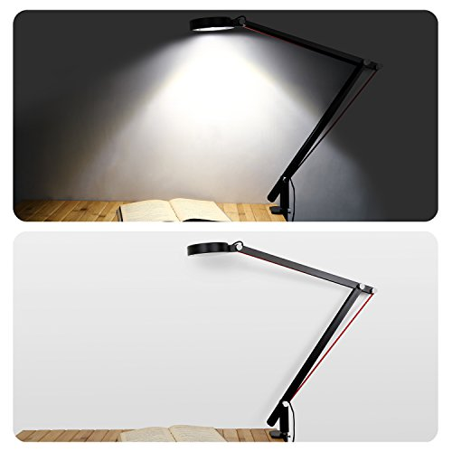 Aglaia Swing Arm Desk Lamp, 6.5W Architect Clamp On LED Lamp, Eye Protection for Home Office Studio (Black) by Aglaia (Image #3)