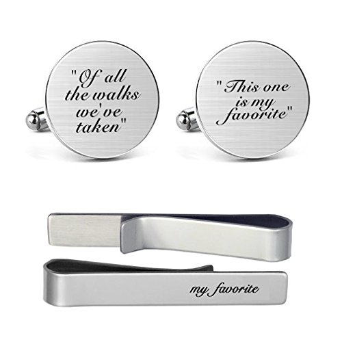 MUEEU Father Wedding Cufflinks Engraved of All The Walks We Have Take This One is My Favorite Round Cuff Link Tie Clip Tacks
