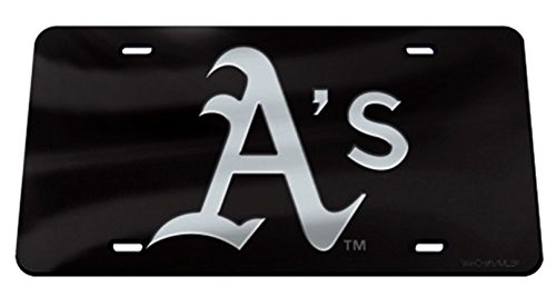 Rico Industries, Inc. Oakland Athletics A's Black Premium Laser Cut Tag Acrylic Inlaid License Plate ()