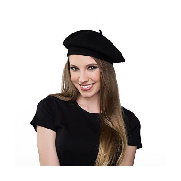 4a1f101e0fbd2 Kangaroo Wool Black Beret Hat - French Beret - Funtober