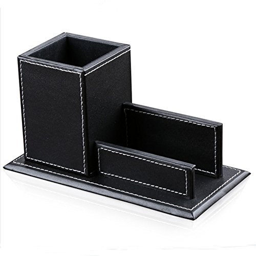 KINGFOM Office Accessories Multipurpose Leatherette Desktop Mesh Collection Container Pen Pencil Holder Caddy Organizer & Business Cards Holder Stand (black)