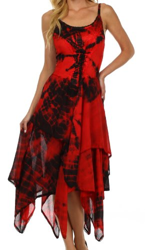 Sakkas 902 Annabella Corset Bodice Handkerchief Hem Dress - Black / Red - One Size Plus