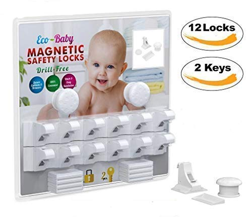 Eco-Baby Magnetic Cabinet Locks Child Safety for Drawers and Cabinets - Kitchen Child Proof Cabinet Locks - Baby Proofing Safety (12 Locks & 2 Keys)