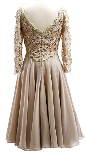 Gown Mother Lace V Midi Burgunderrot Dress Sleeve Formal Women Bride MACloth Long the Neck of aqz5X