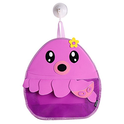 Ava & Kings Baby Bath Toy Organizer Mesh - Hanging Bathroom Basket Bath Toys Storage Bin for Children - Colorful Fun, Safe & Mold-Resistent, Easy-to-Use Large - Purple