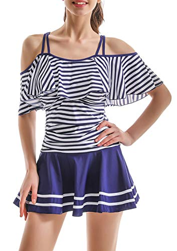 (COCOPEAR Women's One Piece Flounce Swimsuit Off Shoulder Bathing Suit Tummy Control Swimdress(FBA) Navy Stripe XL/12-14)