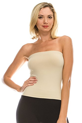 Kurve Medium Length Tube Top with Built-in Shelf Bra -Made in USA- X-Small/Medium Pebble