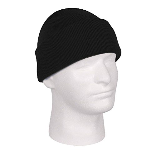 Solid Black Deluxe Military Tactical Watch Cap Beanie Knit Stocking Hat by ZIZI SPORTS SUPPLY