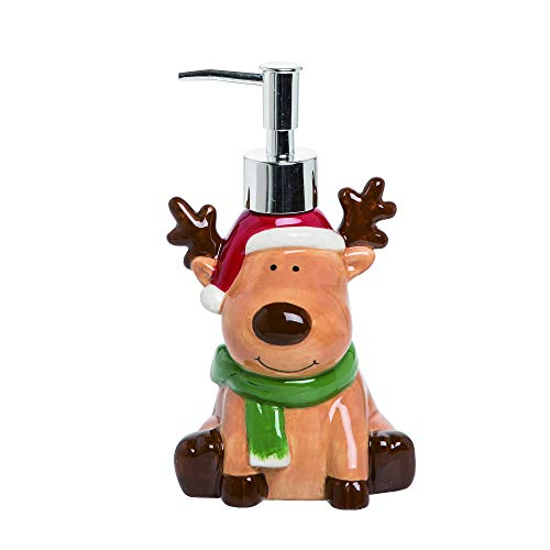 Transpac Reindeer Cartoon Glossy Brown 7 x 4 Dolomite Ceramic Christmas Countertop Soap Dispenser