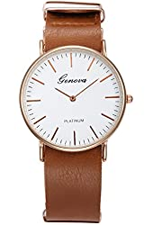 Geneva Women's Casual Business Style Buckle Clasp Quartz Wrist Watches with PU Leather Band-Brown