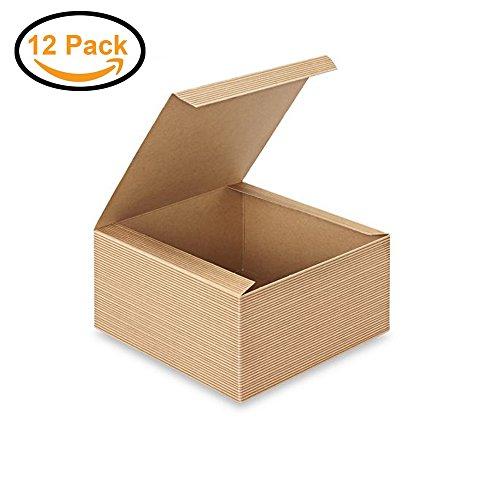 AwePackage 12 Count of Pinstripe Kraft Gift Box - 8x8x4