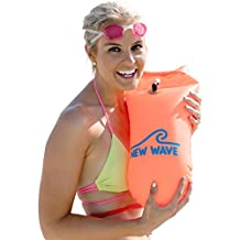 New Wave Swim Buoy for Open Water Swimmers and Triathletes - Light and Visible Float for Safe Training and Racing (Orange PVC Medium-15L)
