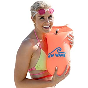 New Wave Swim Buoy – Swim Safety Float and Drybag for Open Water Swimmers Triathletes Kayakers Snorkelers, Open Water…