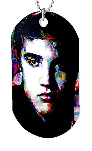 Mark Lewis Art Elvis Presley Necklace Dog tag Pendant, Keychain and Gift Bag - ee-ep-dt Signed Collectible
