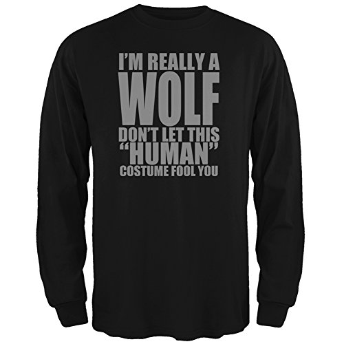 Halloween Human Wolf Costume Black Adult Long Sleeve T-Shirt - (Wolf In Sheep's Clothing Halloween Costume)