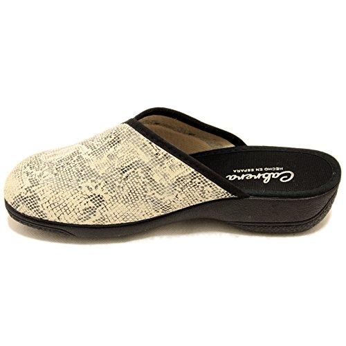 Cabrera 5182 - Zapatillas beig de verano con detalle negro Beige