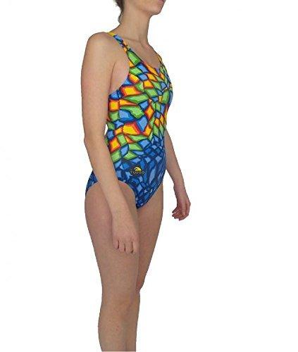 Bañador Mujer Turbo CRYSTAL AZUL Profesional Señora, Traje de Baño de Natacion Entrenamiento Competicion, Tira Ancha doble capa (S): Amazon.es: Ropa y ...