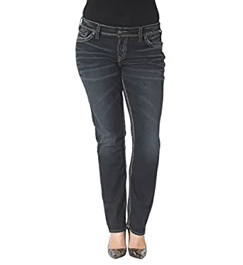 Silver Jeans Women's Plus-Size Suki Mid Rise Straight Leg Jean, Indigo, 16x32