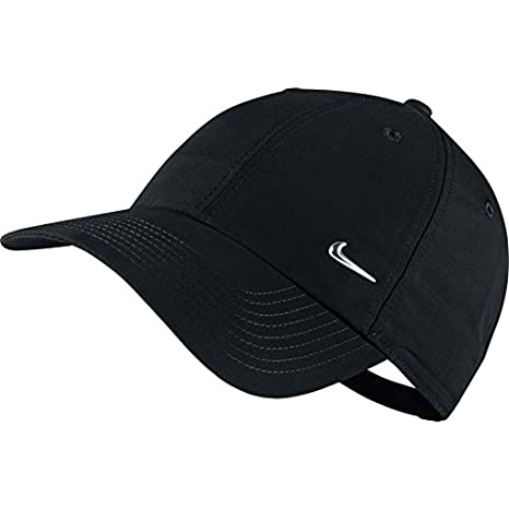 94c597271bd Amazon.com  Nike Metal Swoosh Black Unisex Adult Baseball Cap   Hat One Size   Sports   Outdoors