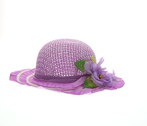 Mozlly Girls Purple Tea Party Sun Flower Hat Lightweight Breathable Straw Cap Travel Beach Floppy Brim Fedora Sunflower Panama Summer Hats Accessories Flower Embellishment 7.75 Inch -