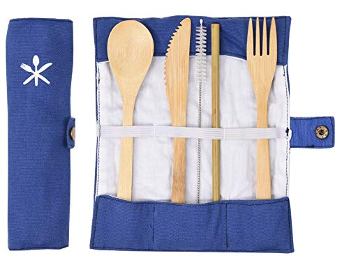Portable Bamboo Utensil Set With Carrying Case - Biodegradable Utensils Includes A Fork, Spoon, Knife, Straw and Case - Travel Utensils