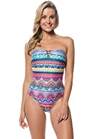 Jessica Simpson Women's Bali Breeze Lace Back Maillot One Piece Swimsuit