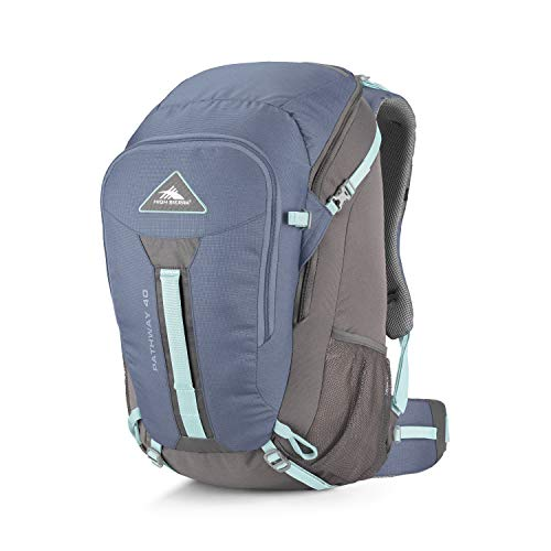 High Sierra Pathway Internal Frame Hiking Pack, 40L, Grey Blue/Mercury/Blue Haze